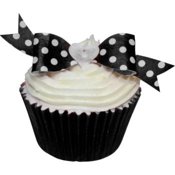 Pack of 10 perfectly cut Black Polka Dot Bows