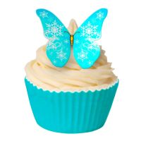 CDA Wafer Paper Pack of 12 Frozen Blue Snowflake Butterfly