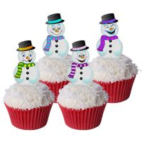 Pack of 12 Pre-Cut Edible Wafer Decorations - Snowman Toppers