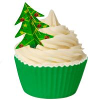 Pack of 8 Edible Pre-Cut Wafer Christmas Tree Decorations - Simply slot together to make a 3D tree