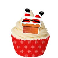Pack of 12 Pre-Cut Edible Wafer Decorations - When Santa got stuck up the chimney