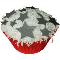 Pack of 48 Edible Wafer Decorations - Random Silver Star Shapes