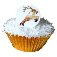 Pack of 12 Edible Pre-Cut Wafer Decorations - Prancing Rudolf