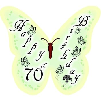 Happy 70th Birthday Butterfly edible wafer cake decorations / cupcake toppers - pack of 12