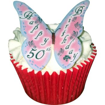 CDA Wafer Paper Pack of 12 Happy 50th Birthday Butterflies (Lady)