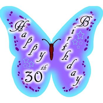 Happy 30th Birthday Butterfly edible wafer cake decorations / cupcake toppers - pack of 12