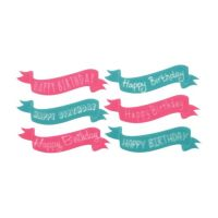 """Lucks Birthday Banners Variety Sweet Shapes: Pack/Size: 72 pack 3 sheets each teal & pink 1 1/4"""" x 4 3/4"""""""