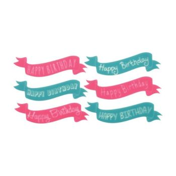 "Lucks Birthday Banners Variety Sweet Shapes: Pack/Size: 72 pack 3 sheets each teal & pink 1 1/4"" x 4 3/4"""