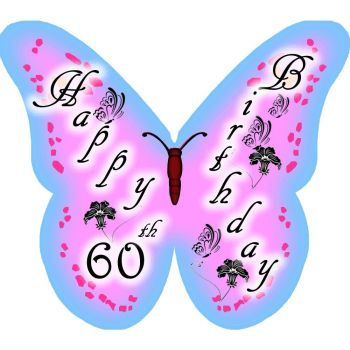 CDA Wafer Paper Pack of 12 Happy 60th Birthday (Lady)