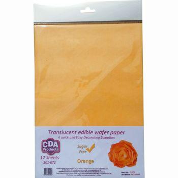 CDA Wafer Paper Pack of 12 Translucent orange edible wafer paper