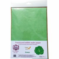 CDA Wafer Paper Pack of 12 Translucent green A4 edible wafer paper sheets
