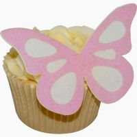 CDA Wafer Paper Pack of 12 (24 parts) Large Shadow Butterflies - Baby Pink on White