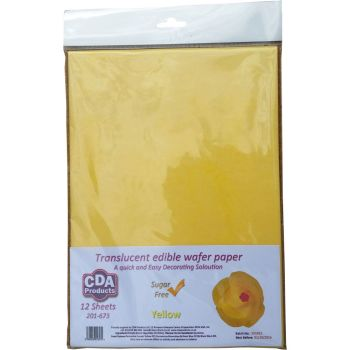 CDA Wafer Paper Pack of 12 Translucent yellow edible wafer paper