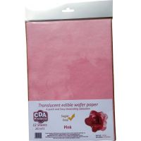 CDA Wafer Paper Pack of 12 Translucent pink edible wafer paper
