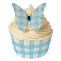 CDA Wafer Paper Pack of 12 Baby Blue Gingham Design Butterflies