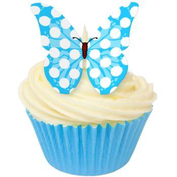 CDA Wafer Paper Pack of 12 Cobalt Blue Polka Dot Butterflies