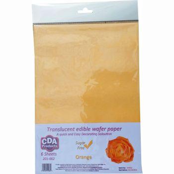 CDA Wafer Paper Pack of 6 Translucent orange edible wafer paper