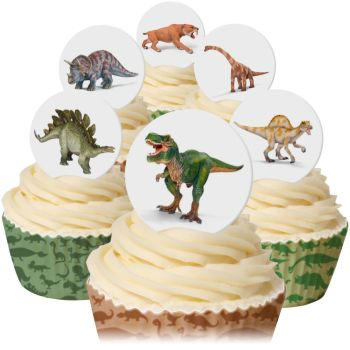 CDA Wafer Paper Mixed Pack of 12 Dinosaurs Toppers