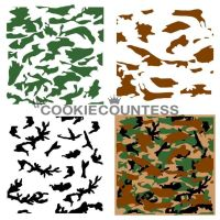 3 Piece Camouflage Stencil by The Cookie Countess
