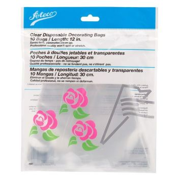 "Ateco 12"" Clear Disposable Bags (Pkg of 10). 6 units at £1.33 per unit."