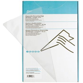 "Ateco 18"" Clear Disposable Bags (Box of 200). 6 units at  £24.89 per unit."