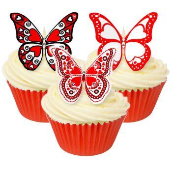 CDA Wafer Paper Mixed Pack of 12 Edible heart wafer butterflies