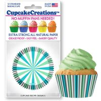 Cupcakes Creations Mint and Turquoise Cupcake Cases, 32 Pieces Per Pack @ £2.08 per pack. 12 Packs Per Carton = £ 21.72