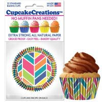 Cupcakes Creations Kaleidoscope Cupcake Cases, 32 Pieces Per Pack @ £2.08 per pack. 12 Packs Per Carton = £ 21.72