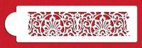 Designer Stencils C122t Banded Lace Cake Stencil, Beige/semi-transparent