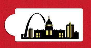 St Louis Detailed Skyline Cake Stencil Side C1006 by Designer Stencils