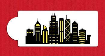 Chicago Detailed Skyline Cake Stencil Side C1005 by Designer Stencils