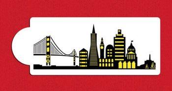 San Francisco Detailed Skyline Cake Stencil Side C1004 by Designer Stencils