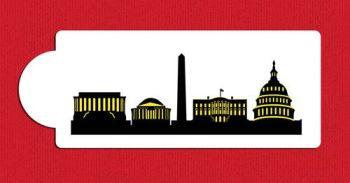 Washington D.C. Detailed Skyline Cake Stencil Side C1003 by Designer Stencils