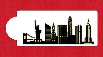 New York City Detailed Skyline Cake Stencil Side C1000 by Designer Stencils