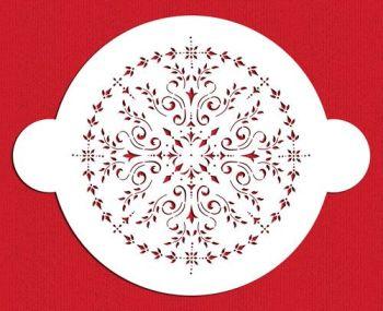 Designer Stencils C098 Round Medallion Cake Stencil, Beige/semi-transparent