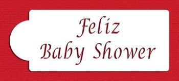 Designer Stencils C082 Feliz Baby Shower Cake Stencil, Beige/semi-transparent