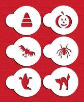 Designer Stencils C065 Halloween Cupcake and Cookie Stencil Set with Cat, Candy Corn, Spider, Ghost, Bat and Pumpkin, Beige/semi-transparent