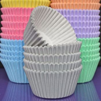 Purple Cupcakes Cupcake Cases Solid Colour x 60 - Pastel Grey, MOQ 6, £1.31 per box of 60