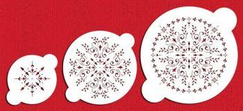 Designer Stencils C059 Round Medallion Cake Stencil Set, Beige/semi-transparent