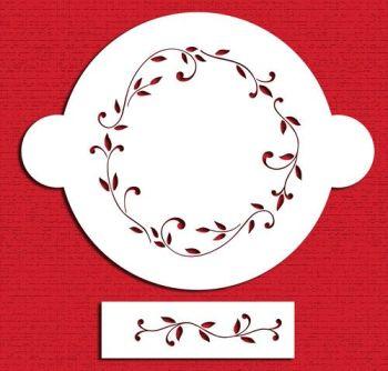 Designer Stencils C020 Leaf Circle Cake Stencil Set, Beige/semi-transparent