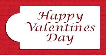 Designer Stencils C015 Happy Valentine's Day Cake Stencil, Beige/semi-transparent
