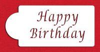 Designer Stencils C013 Happy Birthday Cake Stencil, Beige/semi-transparent