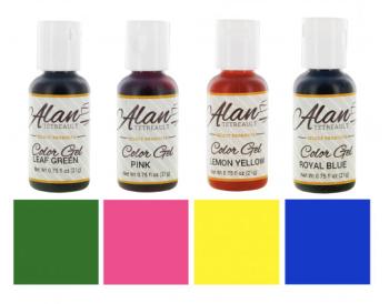 Global Sugar Art  Beginner Premium Food Color Gel Kit, Four Colors 3/4 Ounce by Chef Alan Tetreault