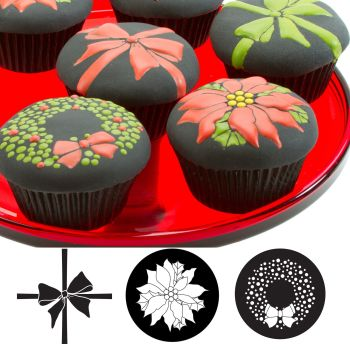 Autumn Carpenter Cutters Cupcake and Cookie Texture Tops - Christmas Minimum order 6 units at £1.61 Per Unit.