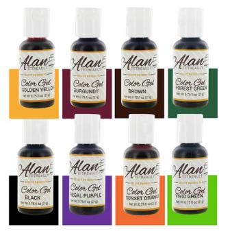 Global Sugar Art  Fall Assortment Premium Food Color Gel Kit, Eight Colors 3/4 Ounce by Chef Alan Tetreault