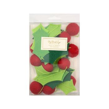 """My Mind's Eye """"Holiday Holly &  Berries Felt Banner"""". 3 Units."""