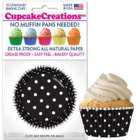 Cupcakes Creations Black & White Polka Dots: 32 Pieces per unit at £2.08 per unit. 12 units per carton.