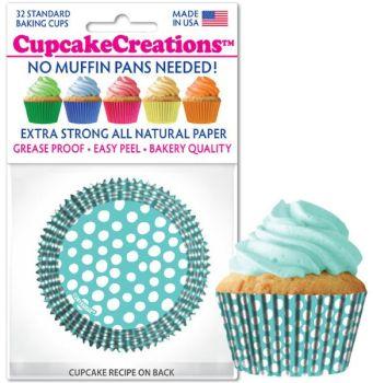 Cupcakes Creations Caribbean Blue Dots: 32 Pieces per unit at £2.08 per unit. 12 units per carton.