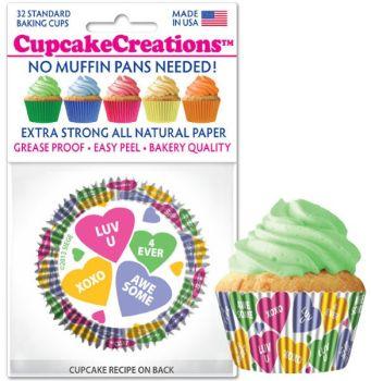 Cupcakes Creations Candy Hearts: 32 pieces per unit at £2.08 per unit. 12 units per carton.