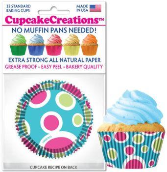 Cupcakes Creations Blue Fiesta: 32 pieces per unit at £2.08 per unit. 12 units per carton.